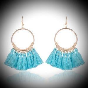 Jewelry - Blue Tassel Dangle Earrings